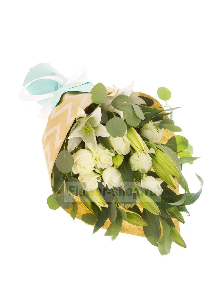 da2703b5cf31078 Букет из лилий и роз - купить с бесплатной доставкой в Москве по ...