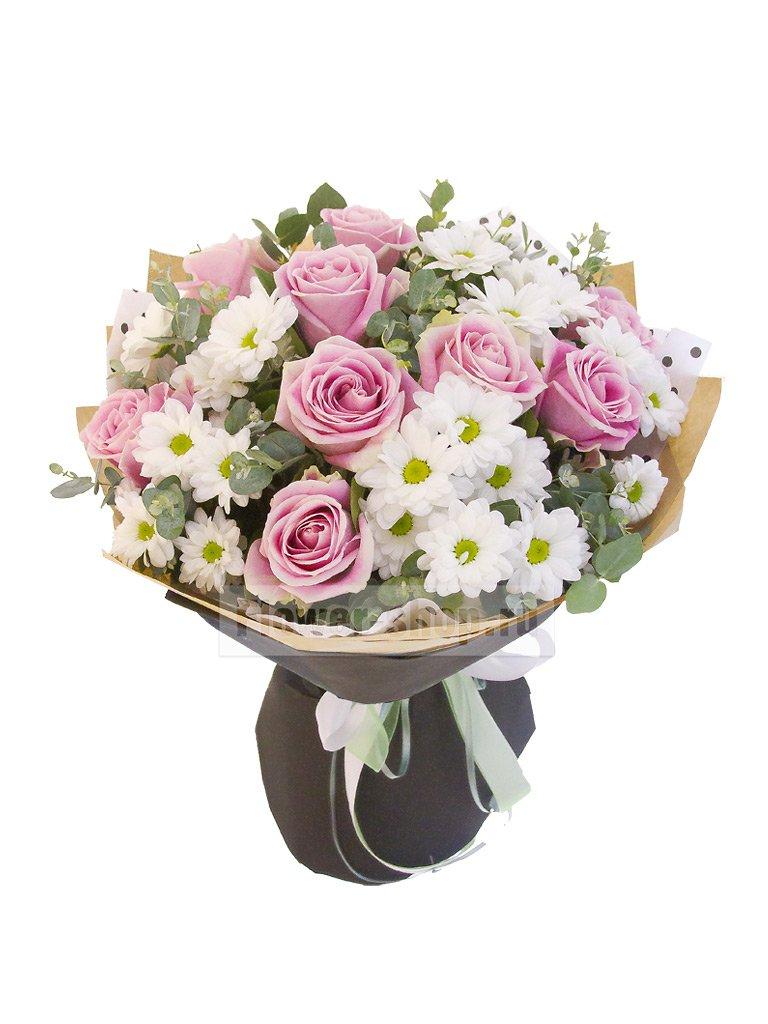 Цветов букет красные розы и белые хризантемы цветы февраля астана