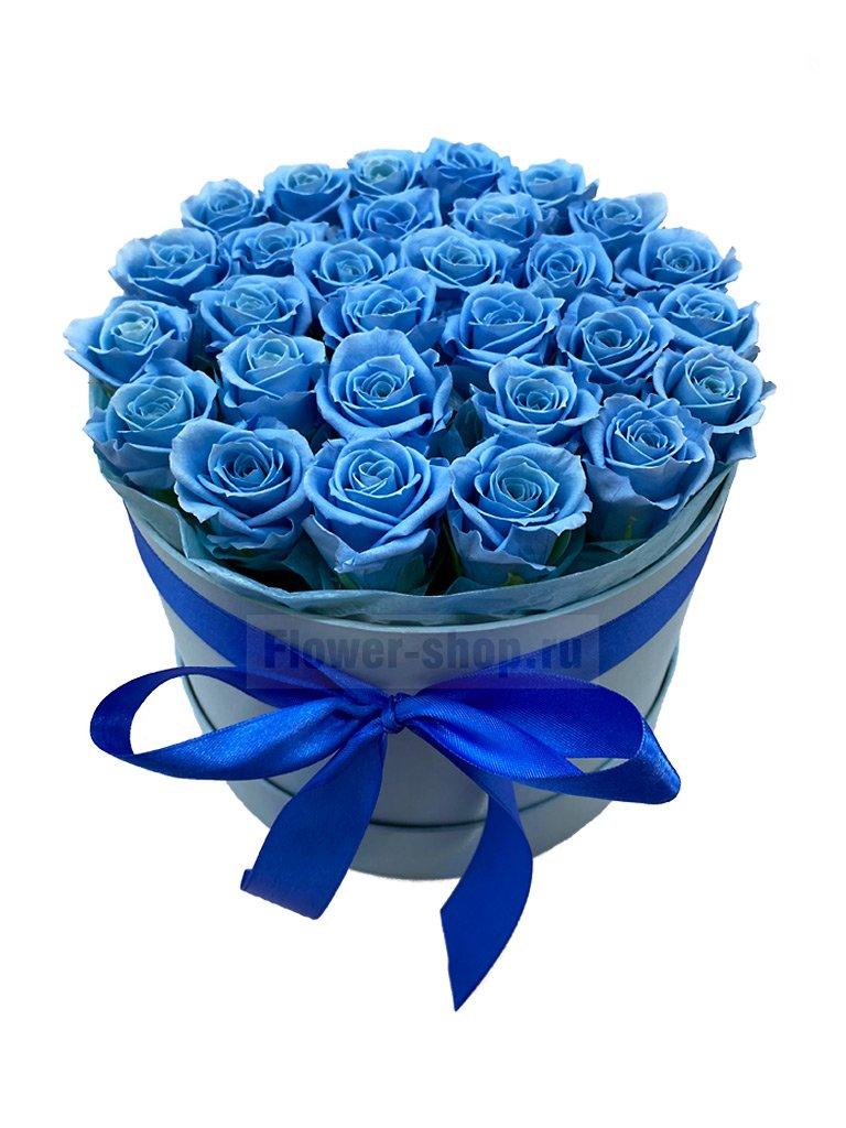Стабилизированные голубые розы в шляпной коробке - купить с бесплатной доставкой в Москве