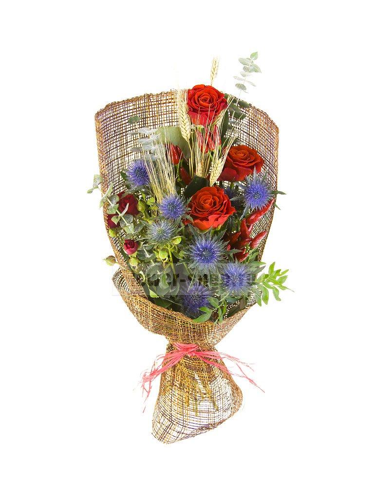 Мужской букет из роз и пшеницы «Айвенго» - купить сегодня по цене 4990 руб. с бесплатной доставкой в Москве