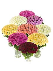 1001 разноцветная роза в стеклянных вазах