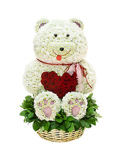 Композиция «Мишка с сердцем» - заказ и доставка цветов на Flower-shop.ru